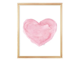Watercolor Painting, Pink Heart Art, 8x10 Art Print from Original Painting, Pink Nursery Decor, Pink Nursery Art, Pink Wall Decor, Pink Art