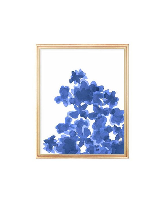 Indigo Watercolor Flowers Print, 8x10