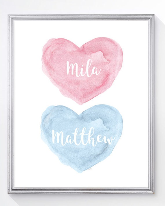 Boy Girl Art Print in Pink and Blue with Custom Names, 8x10