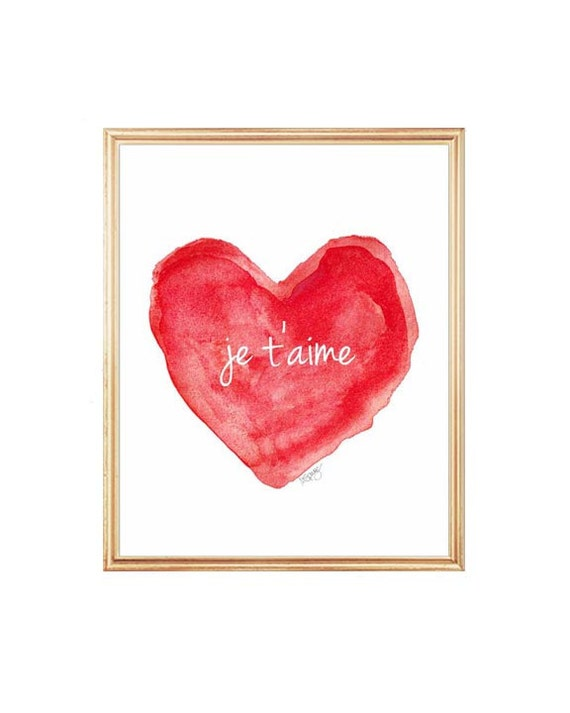 Je t'aime Red Watercolor Heart Print, 5x7, 8x10