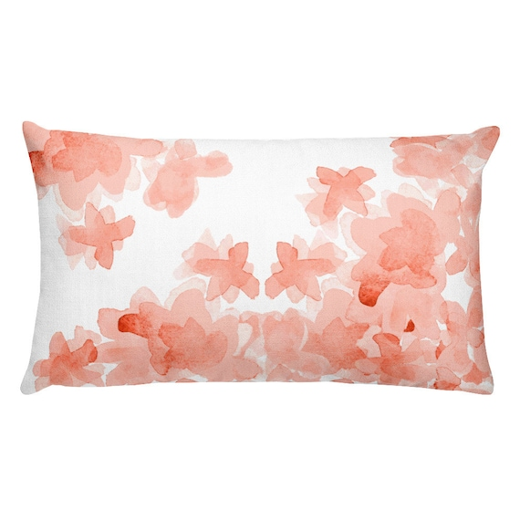 "Coral Floral Throw Pillow, 12""x20"""