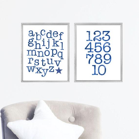 ABC 123 Classroom Poster, Set of 2, Kids Learning Prints, Back to School, Teaching Prints, Teacher Gift,  Playroom Prints, Home School Decor