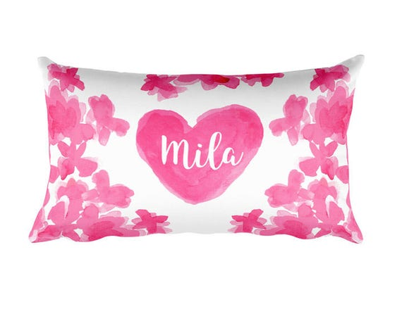 Personalized Pink Pillow for Girls, 12x20