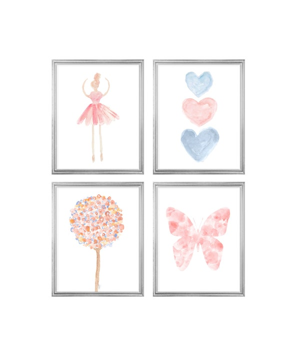 Blush and Blue Nursery Gallery Wall, Set of 4 Butterflies, Ballerina and Heart Prints