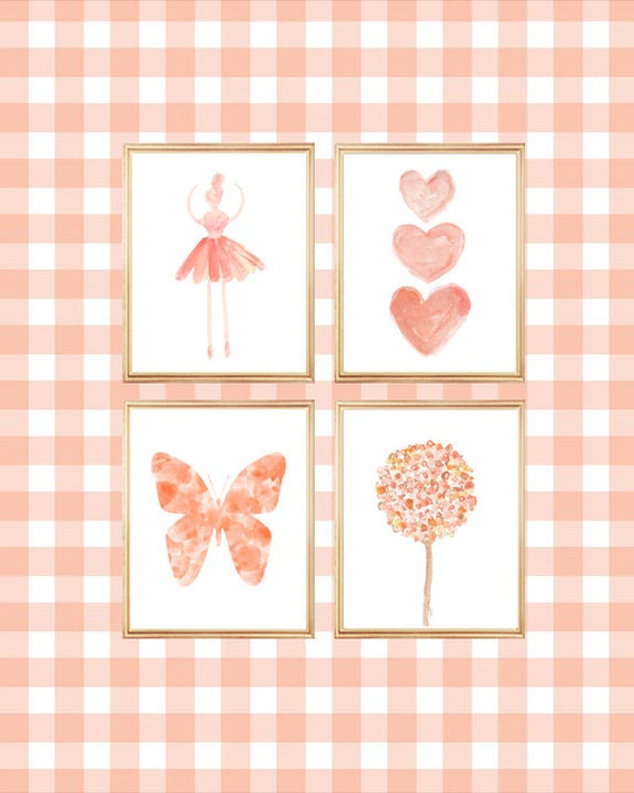 Coral Gallery Wall, Set of 4-8x10 Prints for Big Girl Room