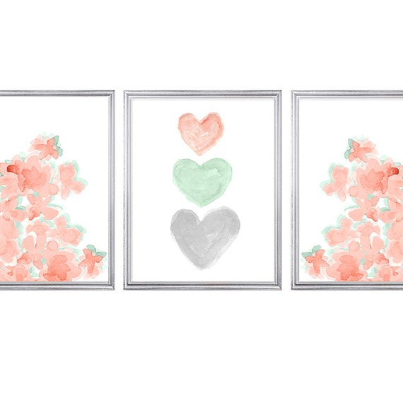 Coral and Mint Nursery Print Set, Set of 3