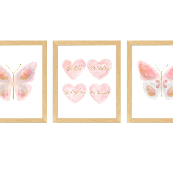 Butterfly Nursery Decor, Set of 3  Blush and Gold Inspirational Prints for Girls