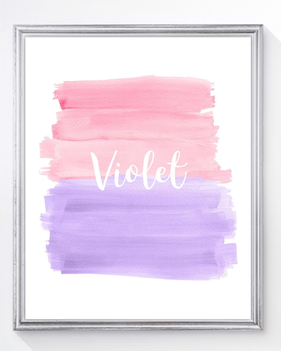 Pink and Lavender Bedroom Decor; Childrens Artwork with Name, 8x10, 11x14