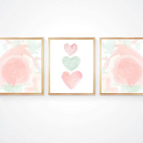 Blush and Mint Nursery, 11x14 Set of 3 Pastel Prints