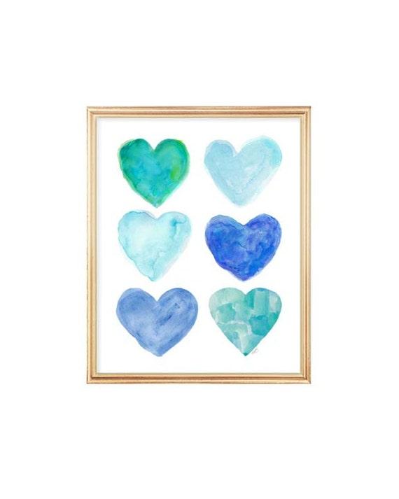 Turquoise Nursery Decor, 8x10 Watercolor Hearts Print