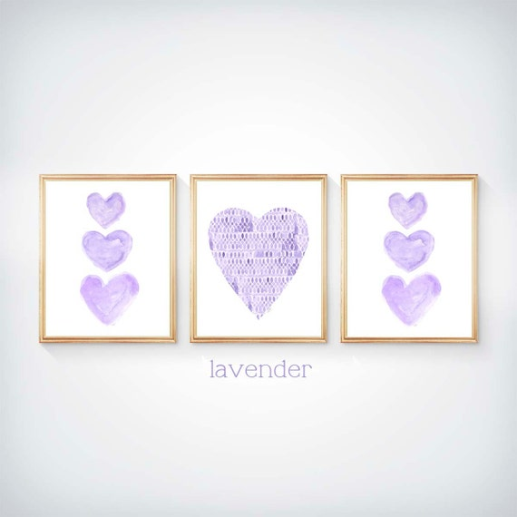 Lavender Wall Decor for Girls, 8x10 Set of 3 Watercolor Heart Prints