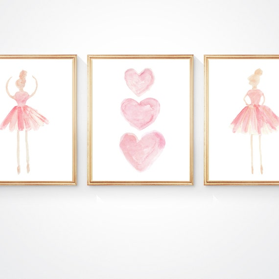 Ballet Wall Art, Set of 3 Prints in Blush