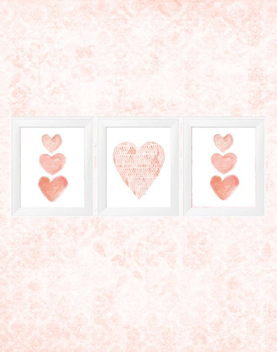 Coral Watercolor Heart Print Set, Set of 3-11x14