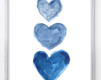Indigo Watercolor Heart Art Print, Nautical Nursery Art, Navy Blue Coastal Art, Navy Blue Art, Midnight Blue Decor, Navy Blue Wall Decor