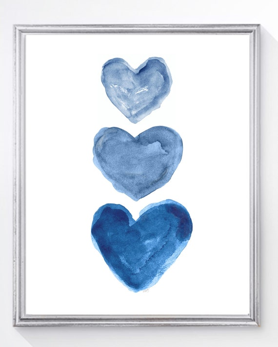 Indigo Blue Watercolor Heart Art Print