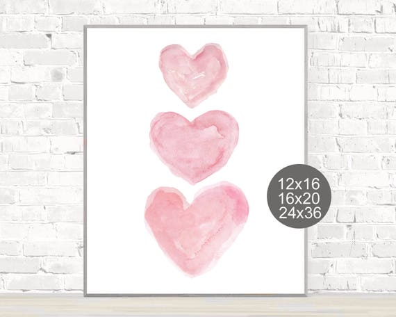 Baby Poster, Hearts in Pink, 12x16, 16x20, or 24x36