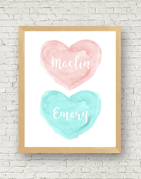 Blush and Aqua Nursery Decor, 11x14 Personalized Watercolor Print