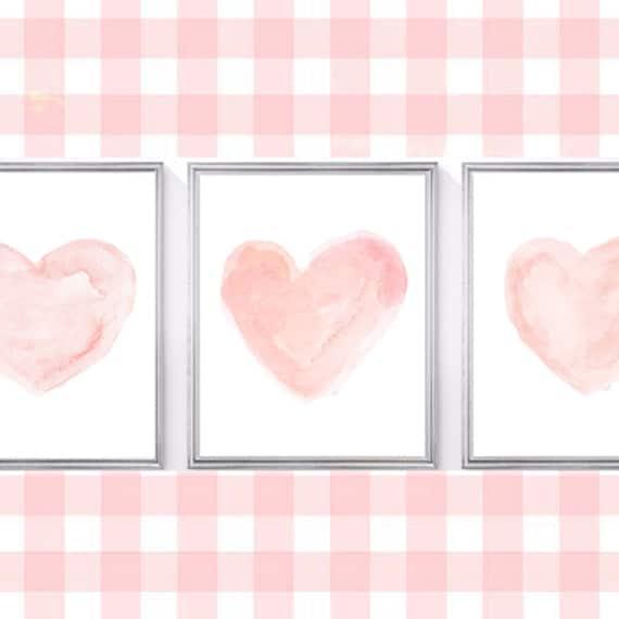 Blush Heart Prints for Nursery, 11x14 Set of 3 Watercolors