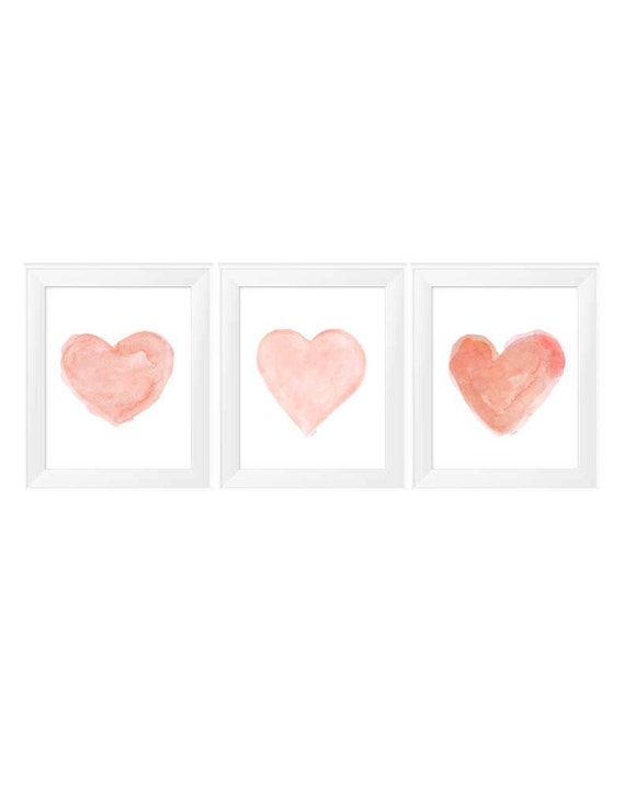Coral Heart Prints for Baby Nursery, Set of 3 - 11x14