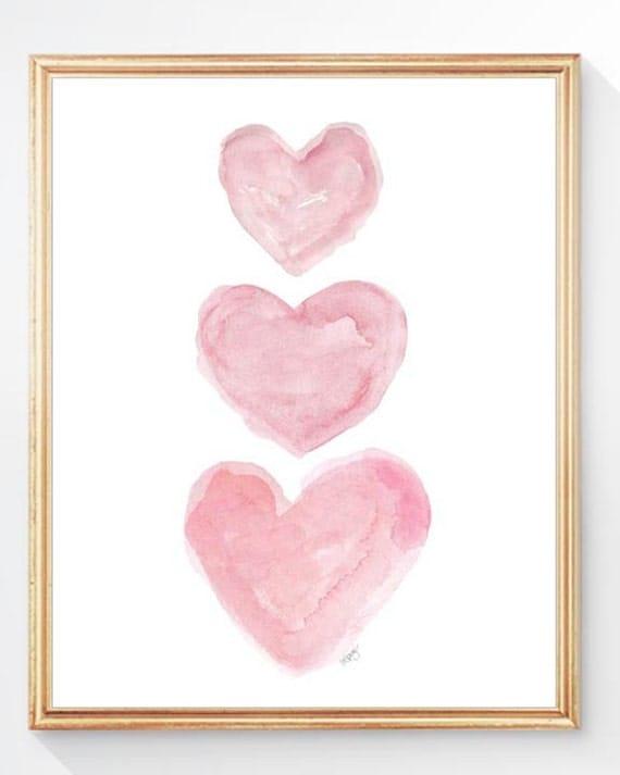 Pink Nursery Art, Watercolor Heart, Pink Watercolor Heart, Pink Nursery Decor, Baby Girl Nursery Art, Baby Girl Gift, Girls Wall Art