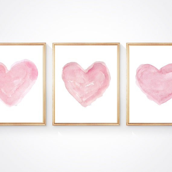 Pink Hearts Nursery Set, Set of 3 - 8x10, Pink Watercolor Hearts