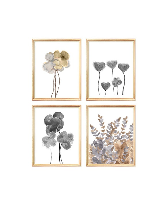 Natural Wall Decor, Set of 4 Gold and Silver Floral Watercolor Prints