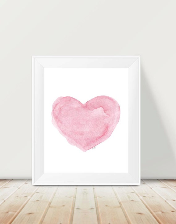 Pink Watercolor Heart Print with Custom Name, 11x14