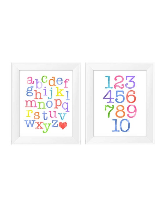 Learning Prints for Kids Playroom, Set of 2-11x14 ABC 123