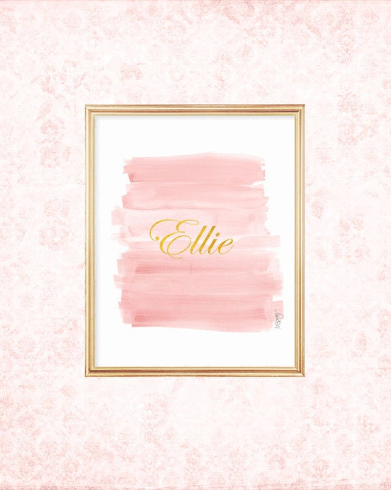 Blush Brushstrokes Print with Gold Name, 8x10