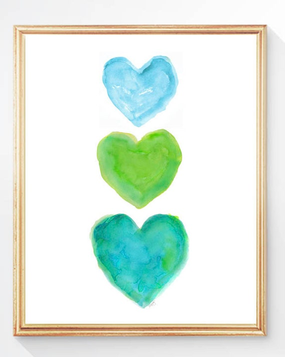 Turquoise and Lime Print, 8x10 Heart Artwork