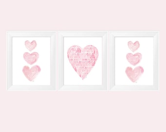 Pink Wall Decor, 11x14-Set of 3 Prints, Pink Heart Painting, Pink Nursery Decor, Pink Nursery Art, Pink Room Decor, Pink Heart Wall Art