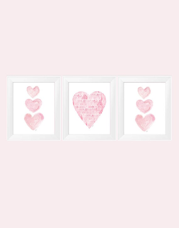 Pink Heart Prints for Nursery, 11x14-Set of 3 Prints