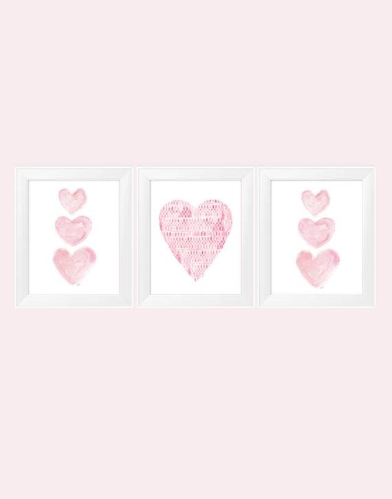 Pink Heart Prints for Nursery, 11x14-Set of 3 Prints