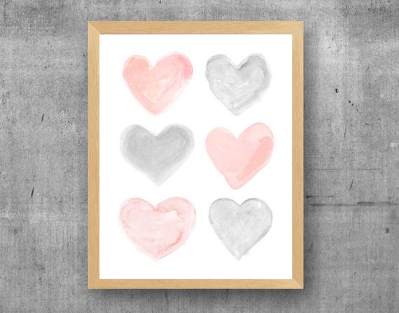 Blush and Gray Nursery Decor, Watercolor Hearts Print