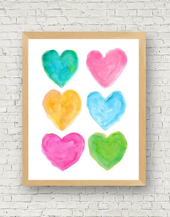 Preppy Room Decor, 16x20 Bright Watercolor Hearts Print