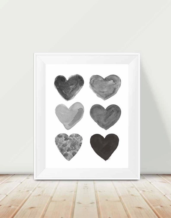 Black and White Children's Print Art, 11x14 Hearts