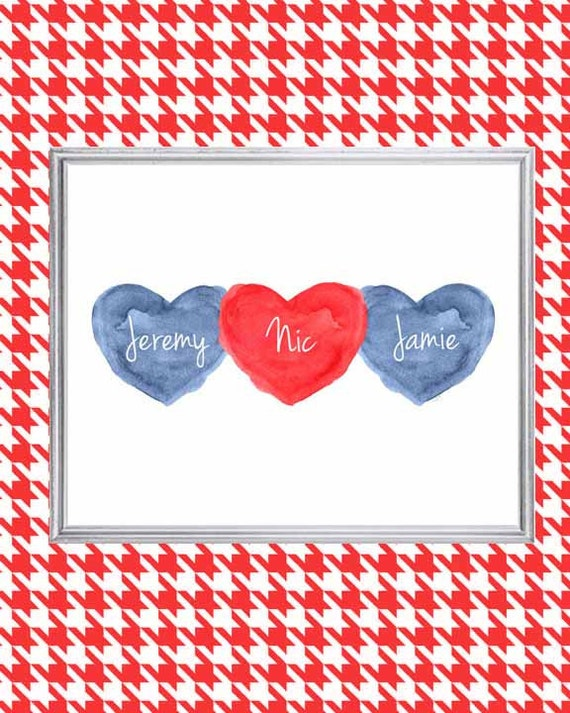 Red and Navy Nursery Print for Brothers and Sisters, 8x10