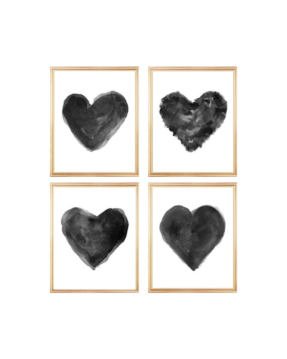 Black Watercolor Heart Collection