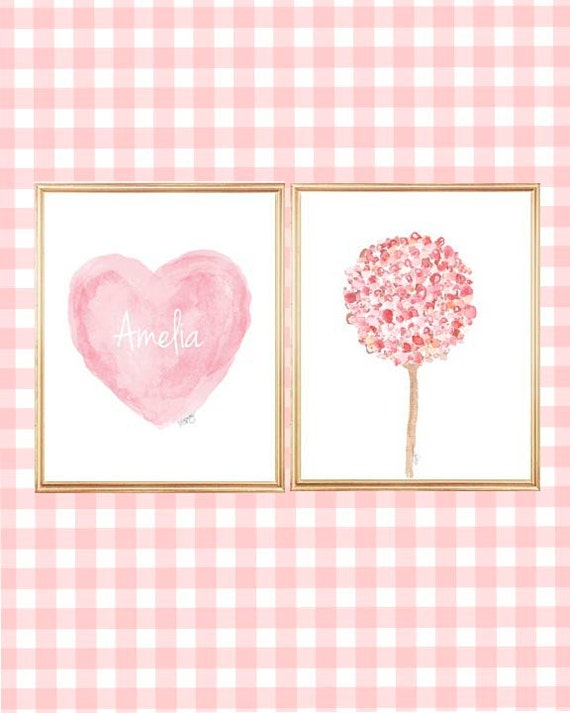Flowers and Heart Print Set for Girls, Set of 2 - 8x10 Personalzied
