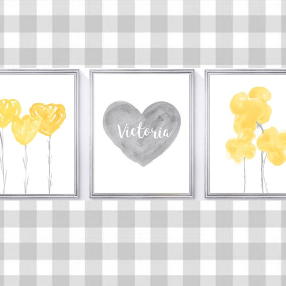 Yellow and Gray Girls Wall Decor, 8x10, 11x14 Set of 3 Personalized Prints