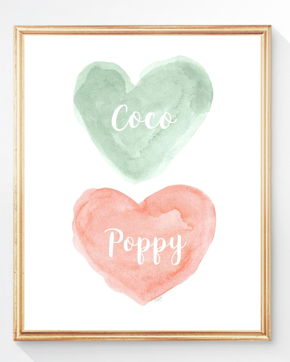 Coral and Mint Personalized Print for Sisters