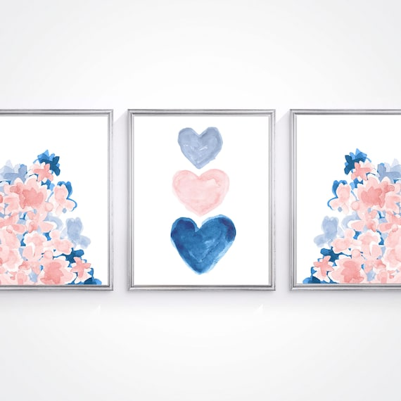 Blush and Navy Artwork, Set of 3 Flower and Heart Prints for Girls Bedroom