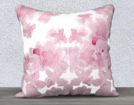 "Pink Velvet Watercolor Flower Pillow Case, 14""x20"", 18""x18"""