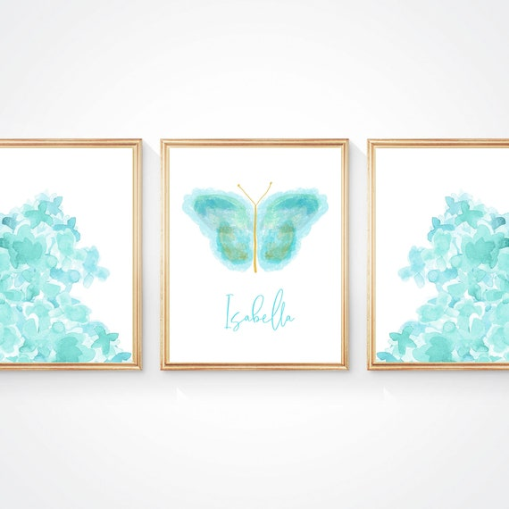 Set of 3 Butterfly and Flowers Artwork for Girls Bedroom