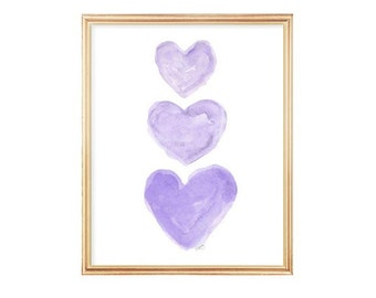 Purple Nursery Art, Watercolor Heart Art Print, 8x10 Lavender Nursery Decor, Baby Girl Nursery, Girls Purple Room Decor, Purple Wall Art