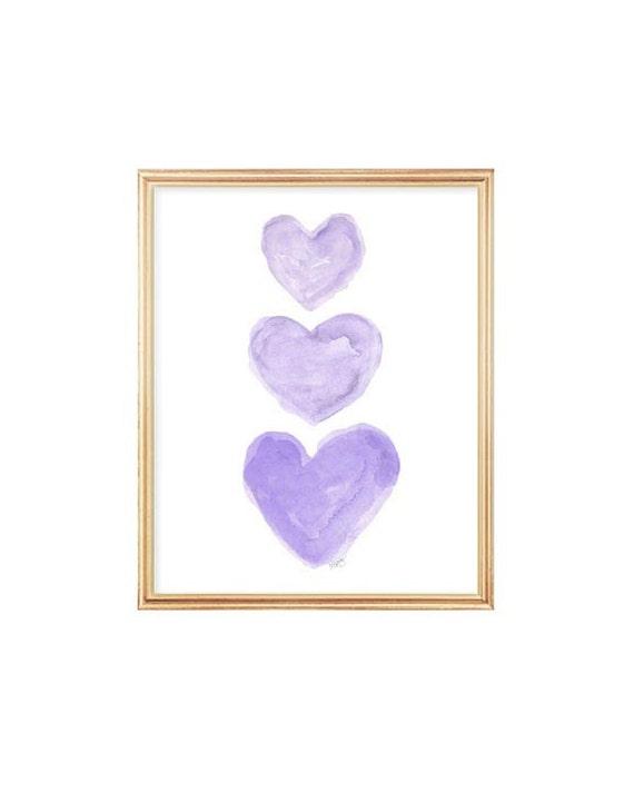 Sweet Purple Heart Trio Nursery Print, 5x7,  8x10