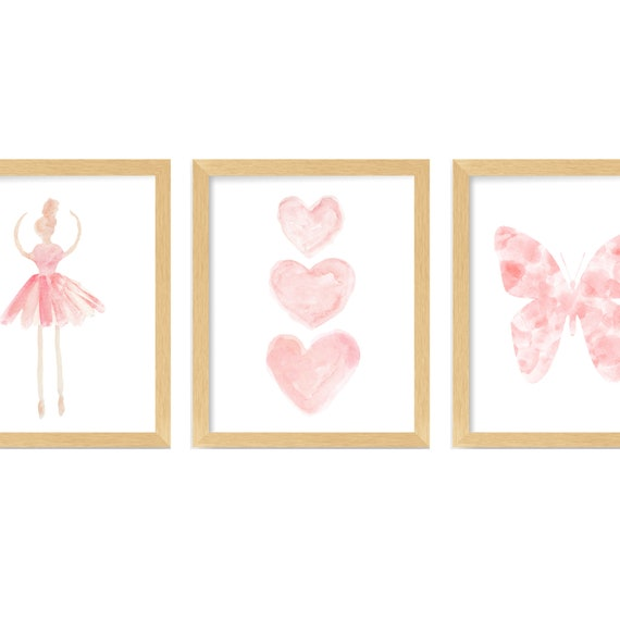 Blush Ballerina Wall Art, 8x10 or 11x14 Set of 3 Prints with Hearts and Butterfly