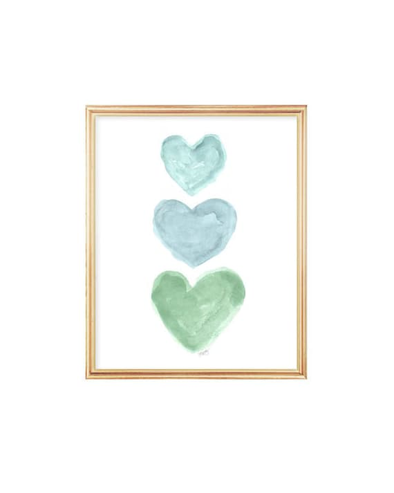 Blue Green Nursery Art, 8x10 Watercolor Hearts Print