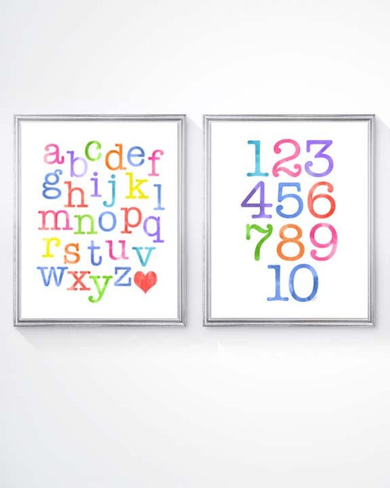 Leaning Prints for Kids Playroom, Set of 2-8x10 ABC 123