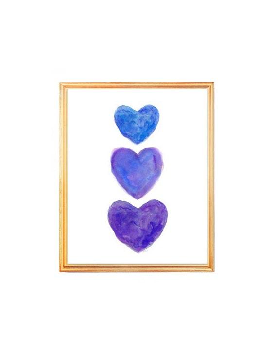 Purple and Blue Jeweltone Heart Print, 8x10